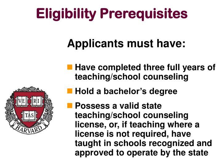 Eligibility Prerequisites