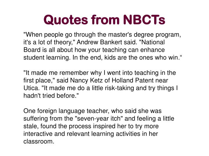 Quotes from NBCTs