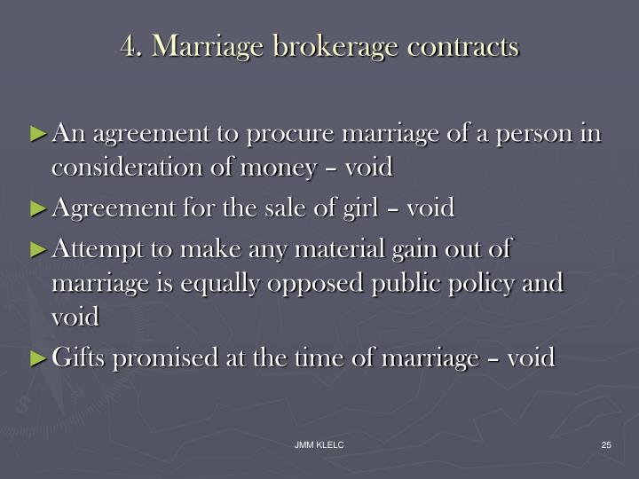 4. Marriage brokerage contracts