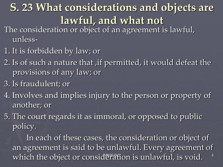 S 23 what considerations and objects are lawful and what not