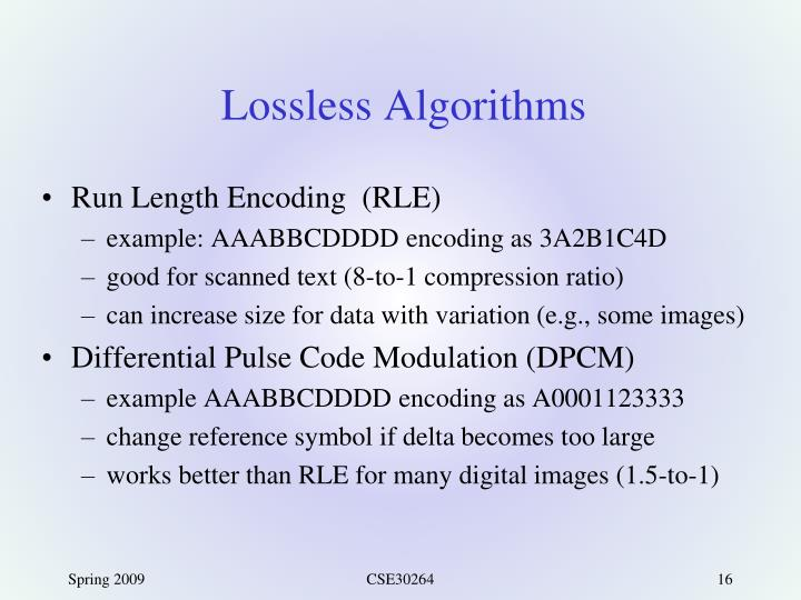 Lossless Algorithms