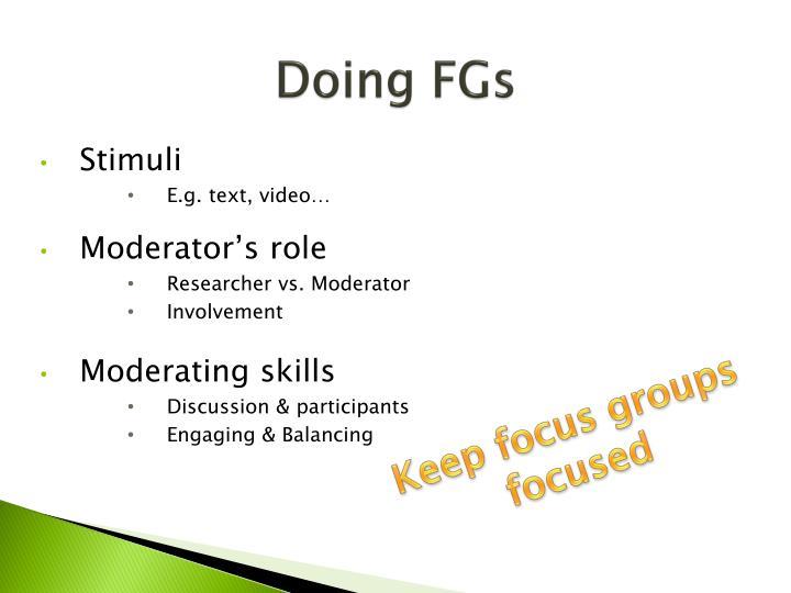 Doing FGs