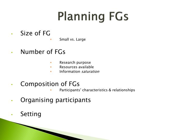 Planning FGs