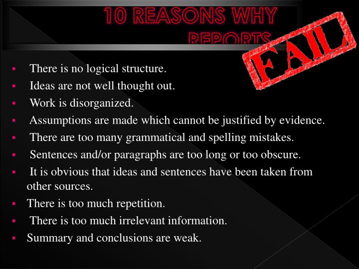 10 REASONS WHY REPORTS