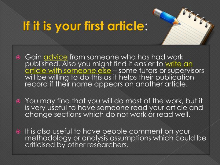 If it is your first article