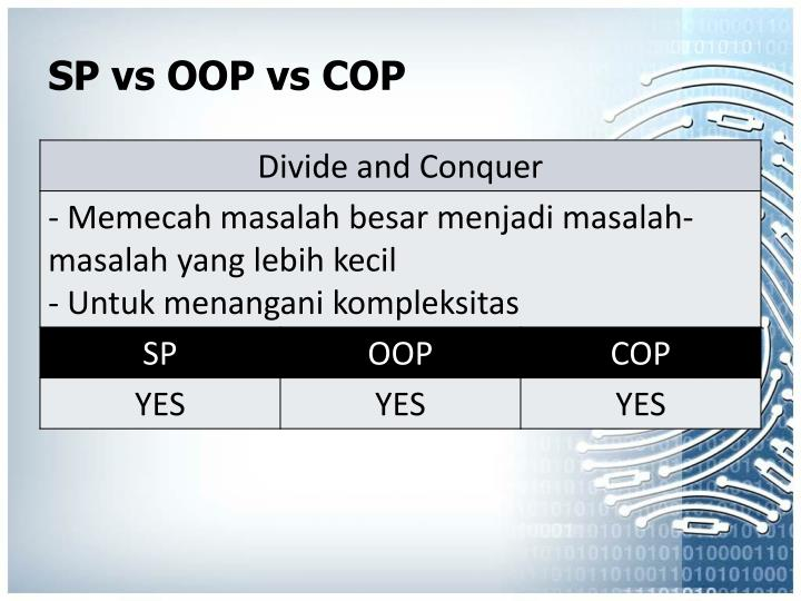 SP vs OOP vs COP