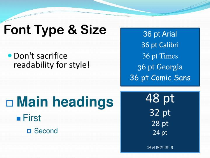 Font Type & Size