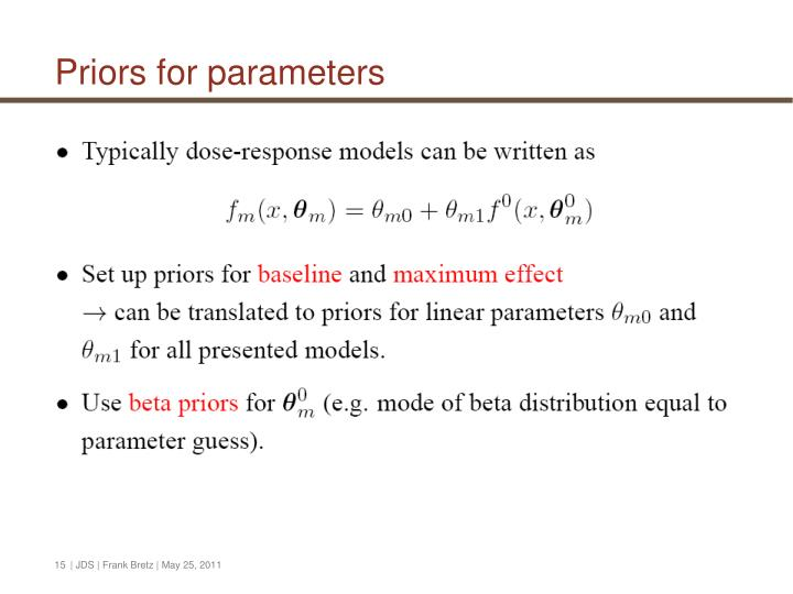 Priors for parameters