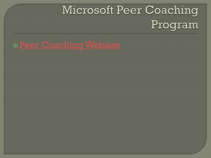 Microsoft Peer Coaching Program