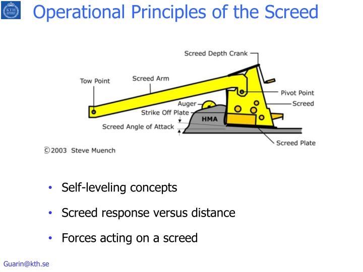 Operational Principles of the Screed