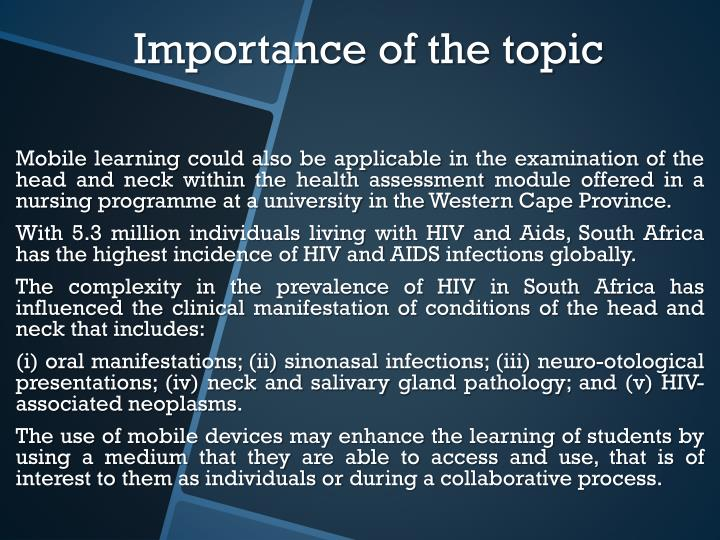 Importance of the topic