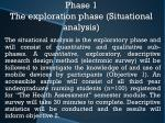 phase 1 the exploration phase situational analysis
