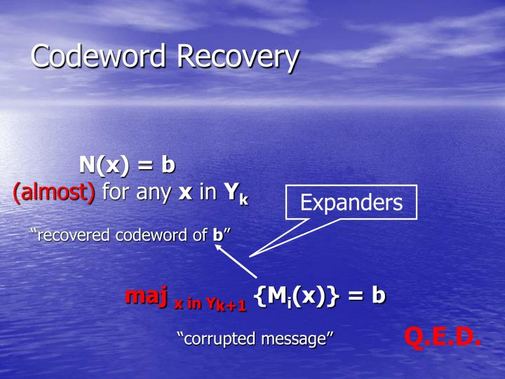 Codeword Recovery