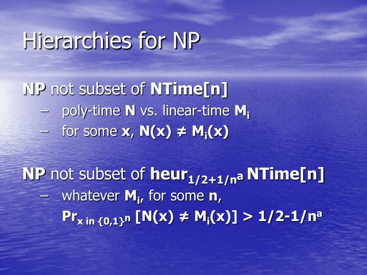 Hierarchies for NP