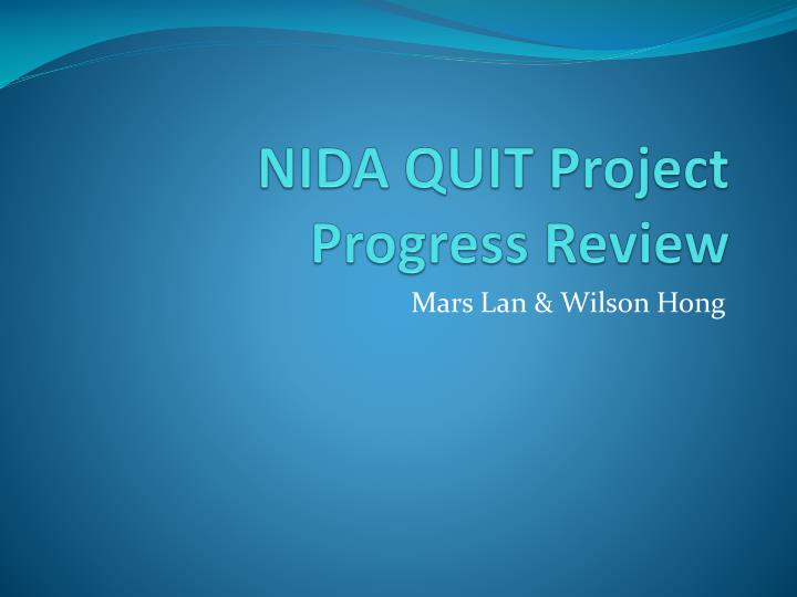 Nida quit project progress review