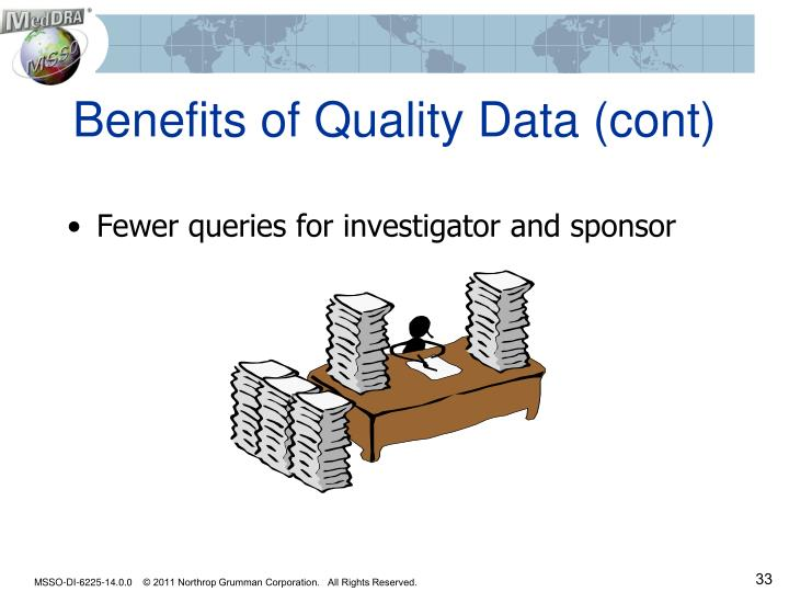 Benefits of Quality Data (cont)