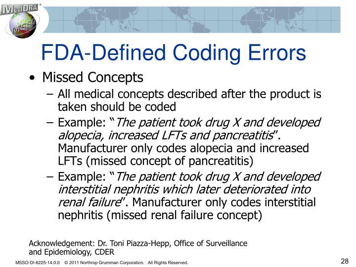 FDA-Defined Coding Errors