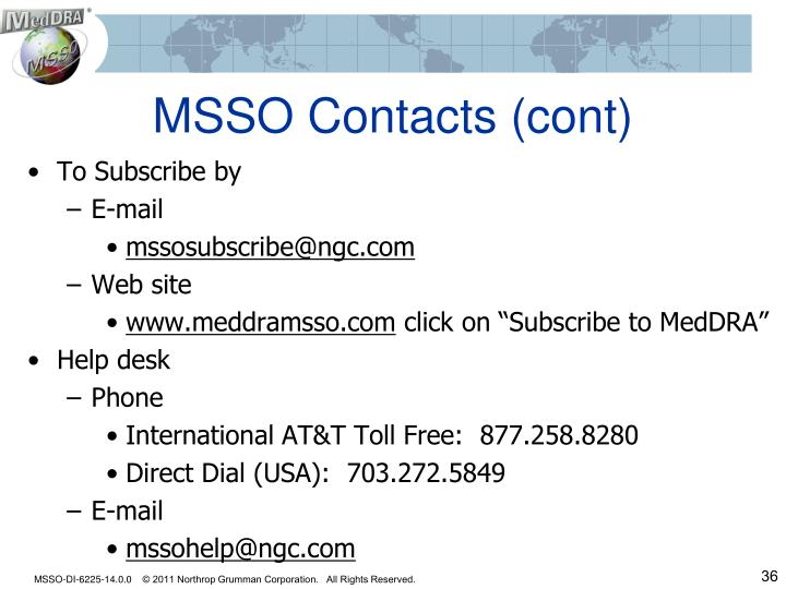 MSSO Contacts (cont)