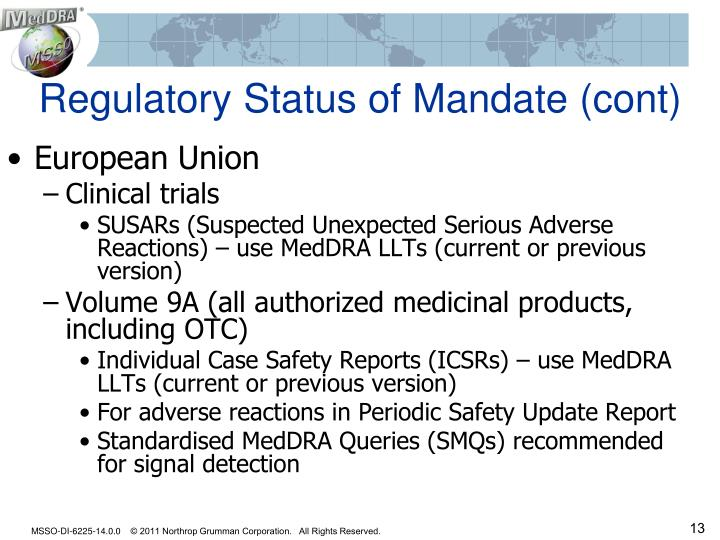 Regulatory Status of Mandate (cont)