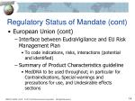 regulatory status of mandate cont1