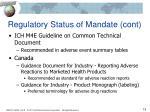 regulatory status of mandate cont2