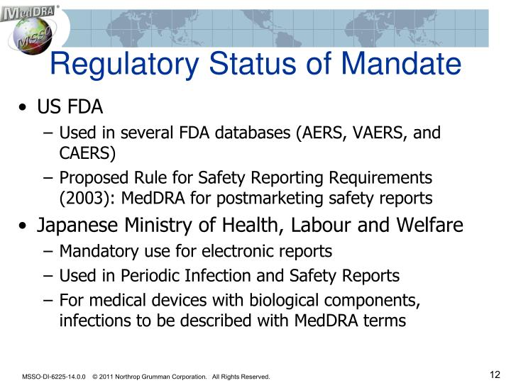Regulatory Status of Mandate