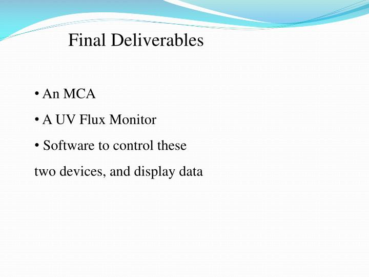 Final Deliverables