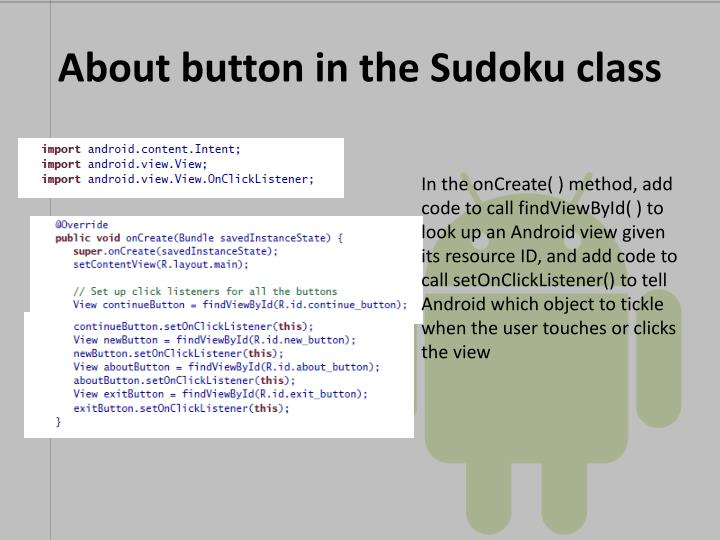 About button in the Sudoku class
