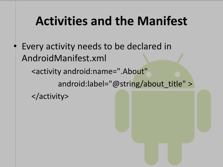 Activities and the Manifest
