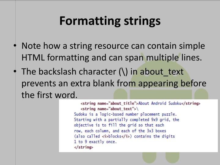 Formatting strings