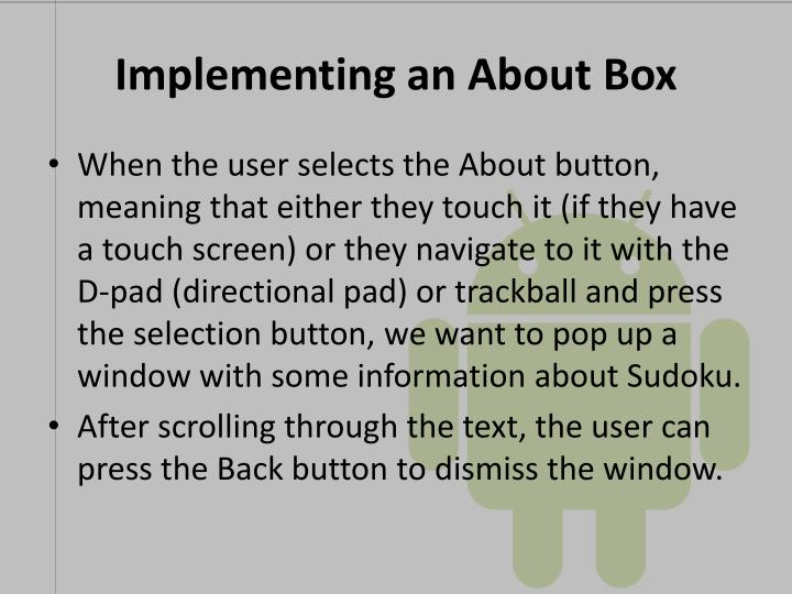 Implementing an About Box