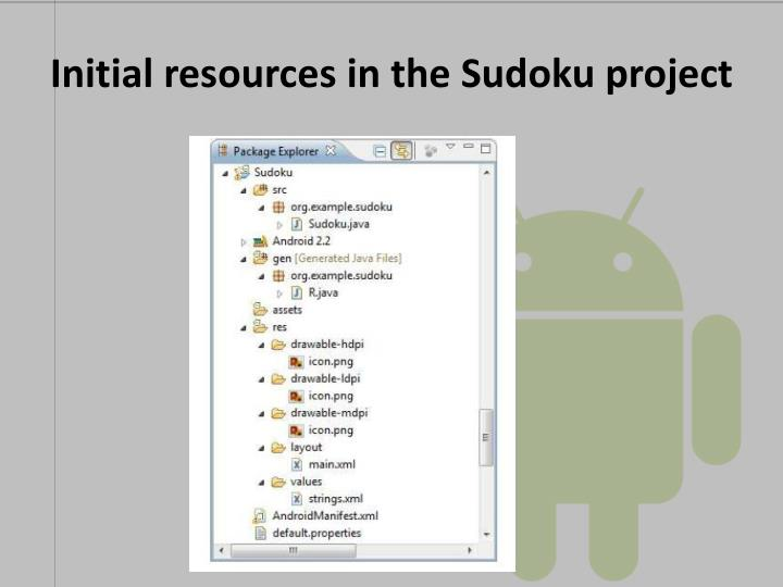 Initial resources in the Sudoku project