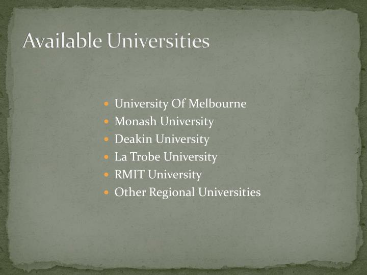 Available Universities
