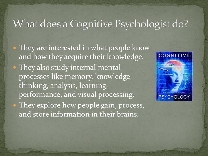 What does a cognitive psychologist do