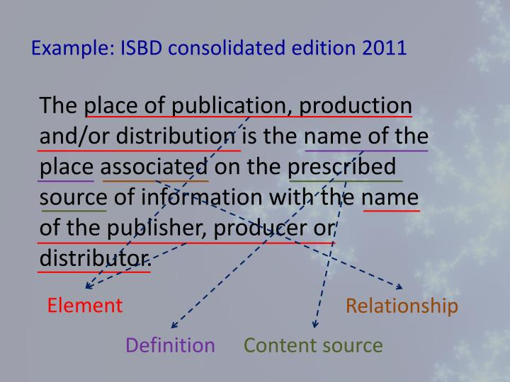 Example isbd consolidated edition 2011
