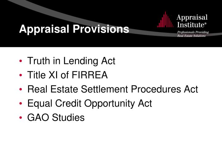 Appraisal Provisions