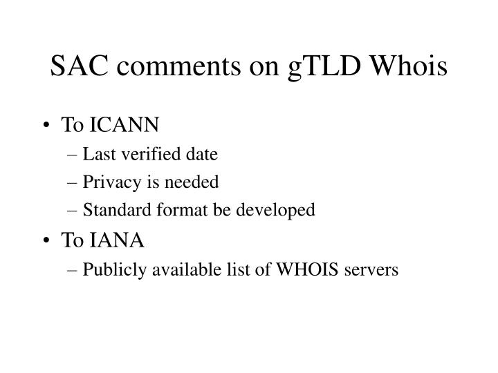 SAC comments on gTLD Whois