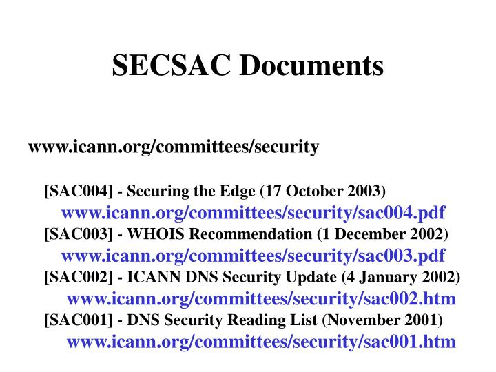 SECSAC Documents