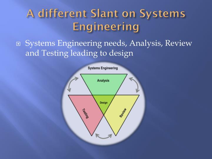 A different Slant on Systems Engineering