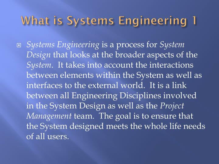 What is Systems Engineering 1
