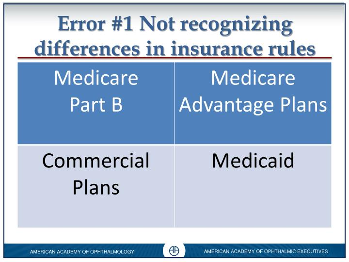 Error #1 Not recognizing differences in insurance rules