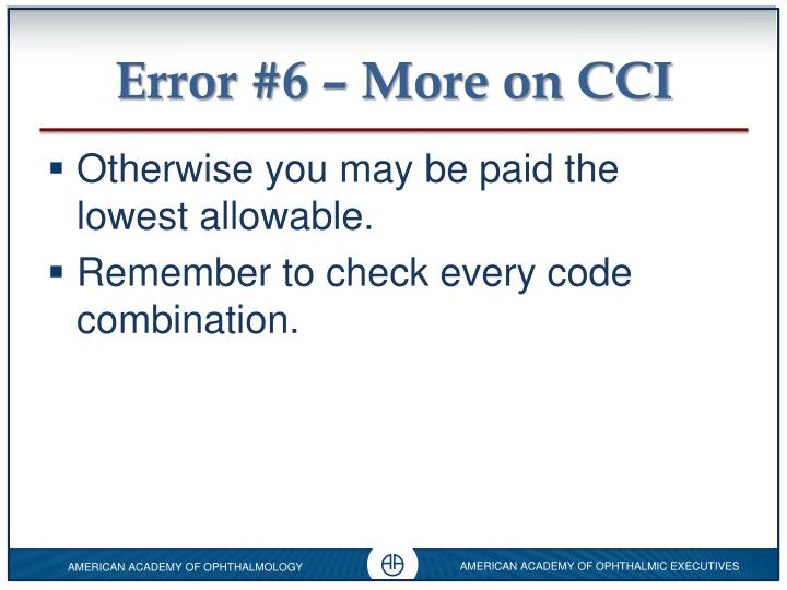 Error #6 – More on CCI