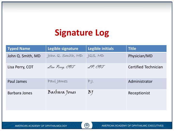 Signature Log