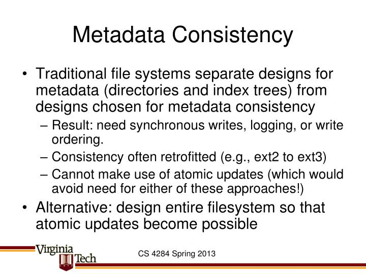 Metadata Consistency
