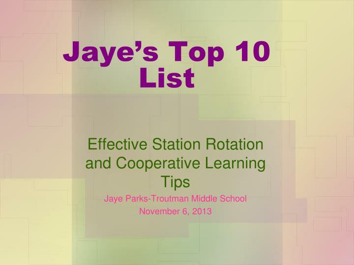 Jaye s top 10 list