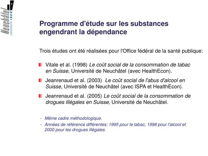 Programme d'étude sur les substances