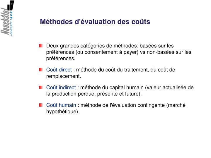 Méthodes d'évaluation des coûts