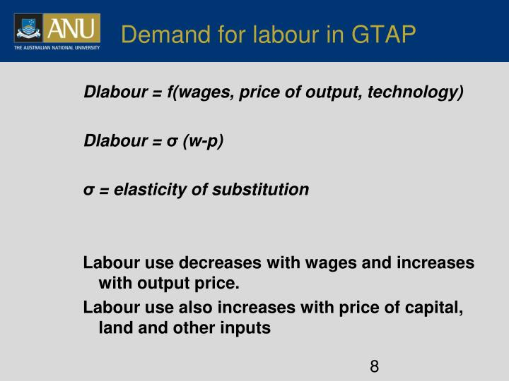 Demand for labour in GTAP