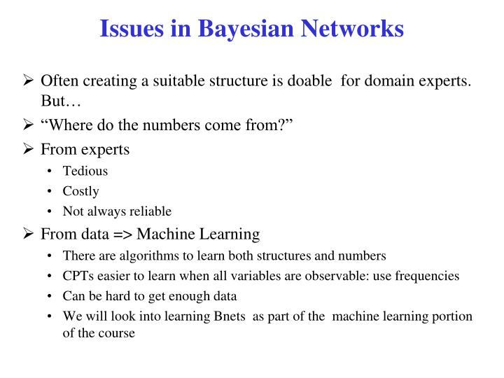 Issues in Bayesian Networks