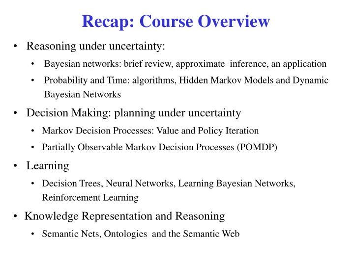Recap: Course Overview